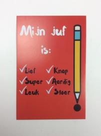Postkaart cm Mijn Juf is: