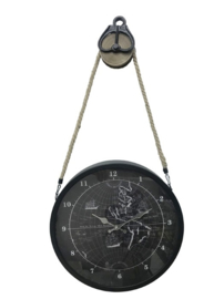 Metal Gear Clock on Pulley Black 38x9x72cm Glass Cover