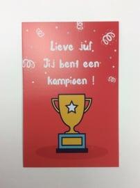 Postkaart Lieve Juf Kampioen
