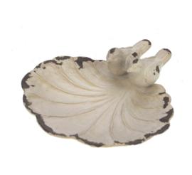 Schaaltje vogeltjes antiek wit 11x11x3,5cm