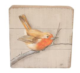 Schilderijtje hout Roodborstje 20x5,5x20cm