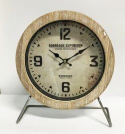 Metal/Wood Table Clock Bordeaux Superieur 25x10x29cm