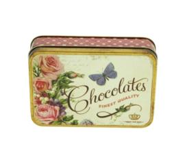 Blikje Chocolates fine quality vlinder 14,5x10,5x3,5cm