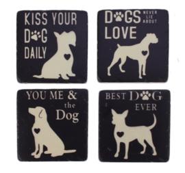 Onderzetters Honden, s/4 9,5x9,5cm