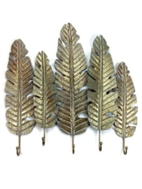 Metal Old Gold Walldeco 5 Palmleaves 69*8,5*69