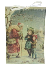 Geurzakje Kerstman wandelstok (kaneel)17x11,5cm