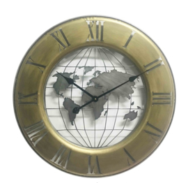 Golden Metal wall clock globe roman digit 63*4.5cm