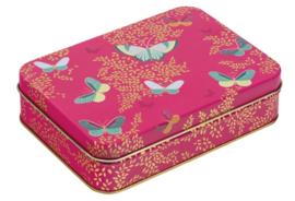 Blik Vlinders roze 14,5x10x4cm