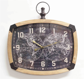 Oval wall clock with globe in the middle 56x6.5x59.5cm Glass Cover