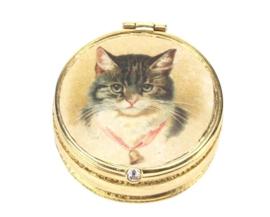 Doosje Kat met bel Ø4cmx1,5cm