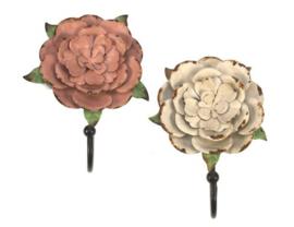 Wandhaak bloem roze en wit 2ass 13x5x18cm