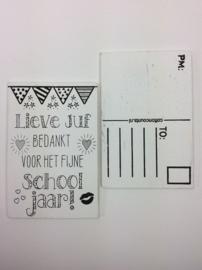 Postkaart hout Lieve Juf - schooljaar
