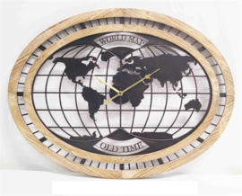 Wall Clock Wooden World Map Old Time 80*4,5*60cm