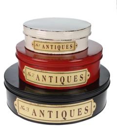 Blik Antiques rond s/3 Ø41xH11,5cm zwart rood wit