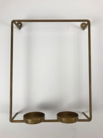 Wall T.Light Holder 2 T.Light 20x10x27 cm Blue Gold