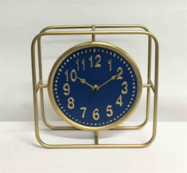 Messing/Blue Round Tableclock Square Frame 25x9x25cm
