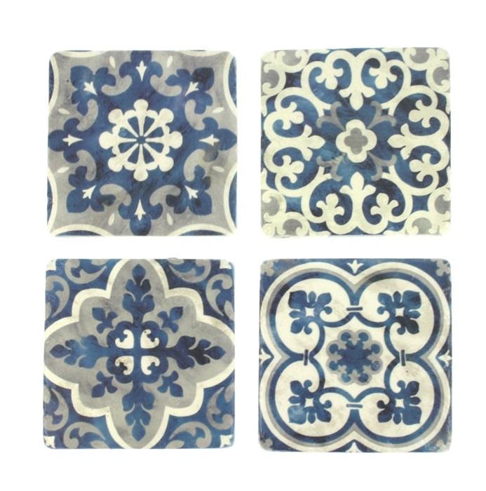 Onderzetters blauw wit, set van 4 10x1x10cm