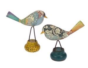 Vogeltje staand metaal op rond voetje, 2 stuks. 12x4,5x12cm