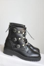 Bullboxer - Zwart lederen boots met gespen en parels - Mt 41
