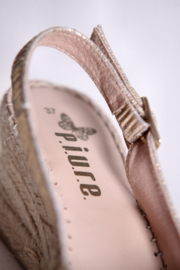 Piure - Goud lederen espadrille sleehak sandalen - Mt 37
