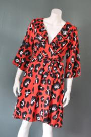 Smashed Lemon - Rood zwarte ruffle dress met print - Mt 42