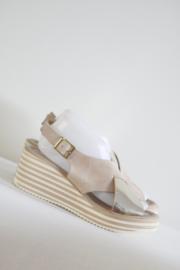 Heine - Beige goud lederen sleehak sandalen - Mt 41
