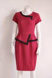 Diva Catwalk - Wijn rode peplum pencil dress - Mt XL