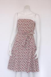 Vanilia - Groen roze gebloemde strapless jurk met strik - Mt 38