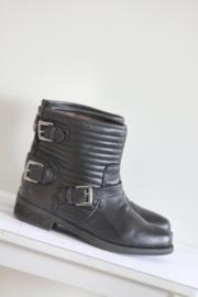 Nubikk - Zwart lederen boots met riempjes - Mt 36