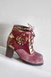 Nina Vita - Roze suede & leder gebloemde veterlaarsjes - Mt 40