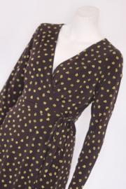 Rachel Zoe - Bruine faux wrap dress met gele bloemen - Mt M
