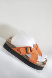 Sunbay - Oranje lederen slippers - Mt 39