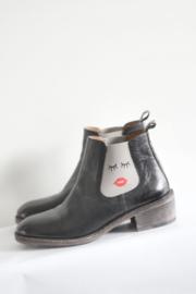Crickit - Zwart lederen boots met houten hak - Mt 40
