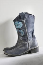 Méliné - Blauw geborduurde lederen boots - Mt 38