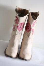 Ivoire - Beige lederen laarzen met geborduurde bloemen - Mt 37