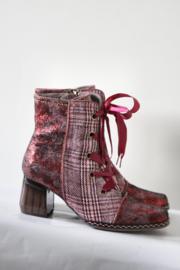 Nina Vita - Rood roze geruite veterlaarsjes - Mt 39