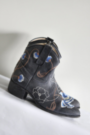 Donkerblauw lederen geborduurdee boots - Mt 38