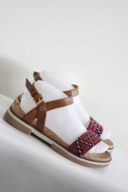 Wrangler - Rood bruin lederen sandalen - Mt 38