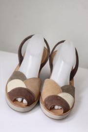 Ria Menorca - Bruin lederen sandalen met sleehak - Mt 41
