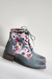 Laura Vita - Blauw lederen veterlaarsjes met bloemen - Mt 36