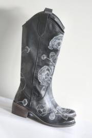Muratti - Hoge zwart lederen laarzen met geborduurde bloemen - Mt 38