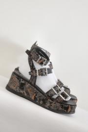 Bronx - Zwart bruin lederen platform sandalen - Mt 40