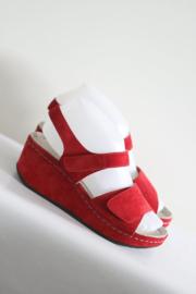 Cinzia Soft - Rood suede lederen sleehak sandalen - Mt 37