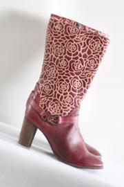 Laura Vita - Rood lederen laarzen met bloemen - Mt 38