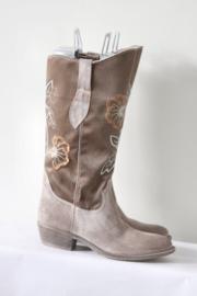 Tango - Bruin suede & satijn geborduurde boots - Mt 39