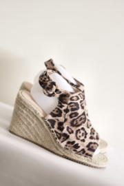Moda in Pelle - Tijgerprint espadrille sleehak sandalen - Mt 41