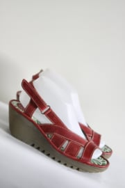 Fly London - Rood lederen sleehak sandalen - Mt 39