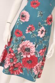 King Louie - Turquoise jurk met roze bloemen - Mt M