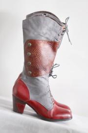 Laura Vita - Grijs rood lederen laarzen - Mt 39