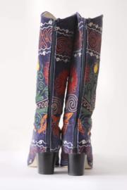 Suzani - Blauw velours geborduurde laarzen -  Mt 42